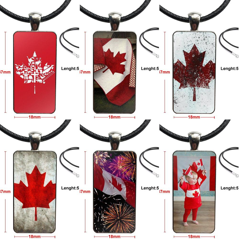 Moda wisiorek ze szklanym kaboszonem prostokąt naszyjnik Choker naszyjnik biżuteria dla dziewczynek Handmade prezent Rebel konfederate flaga kanady