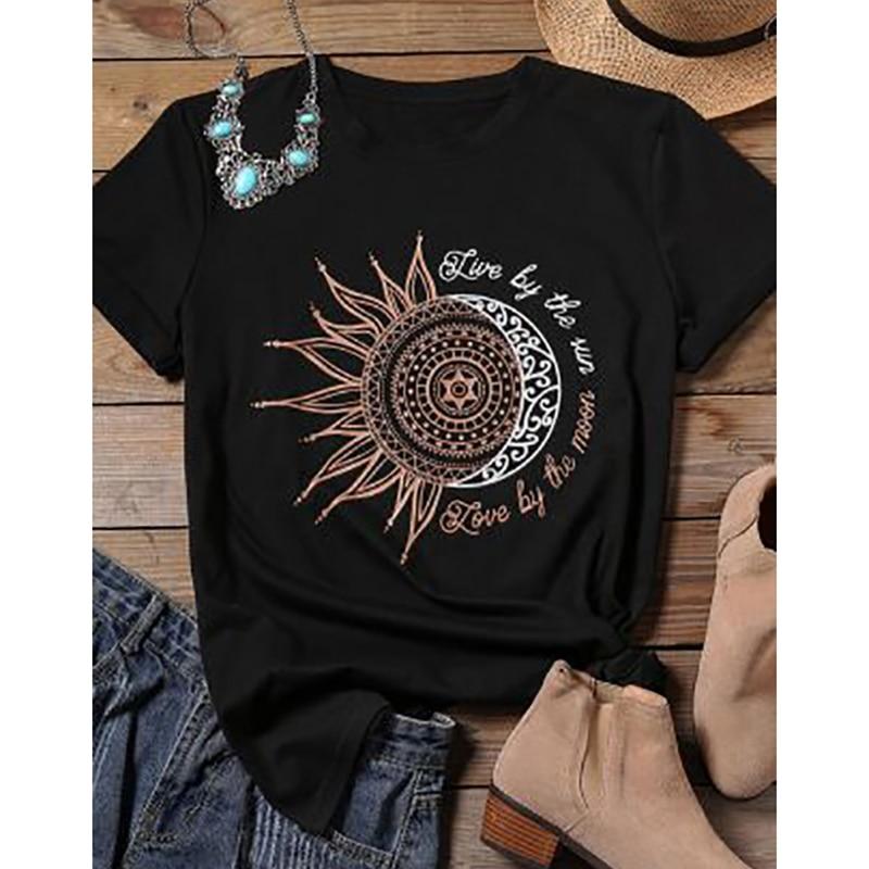 ¡Novedad de 2020! Camiseta informal a la moda para mujer con estampado de Luna y sol, camiseta elástica de manga corta y cuello redondo, camisetas de verano