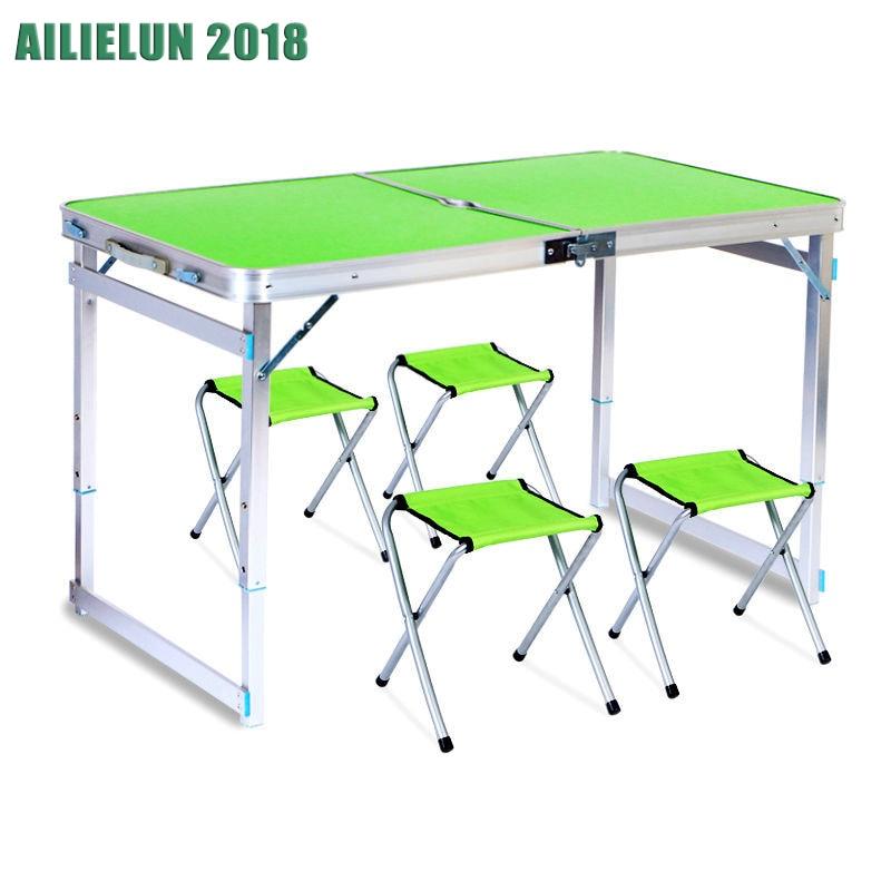 Набор мебели складной стол+4 стула стол складной стол и стул набор для пикника алюминий стол раскладной стол стол туристический походный ст... недорого