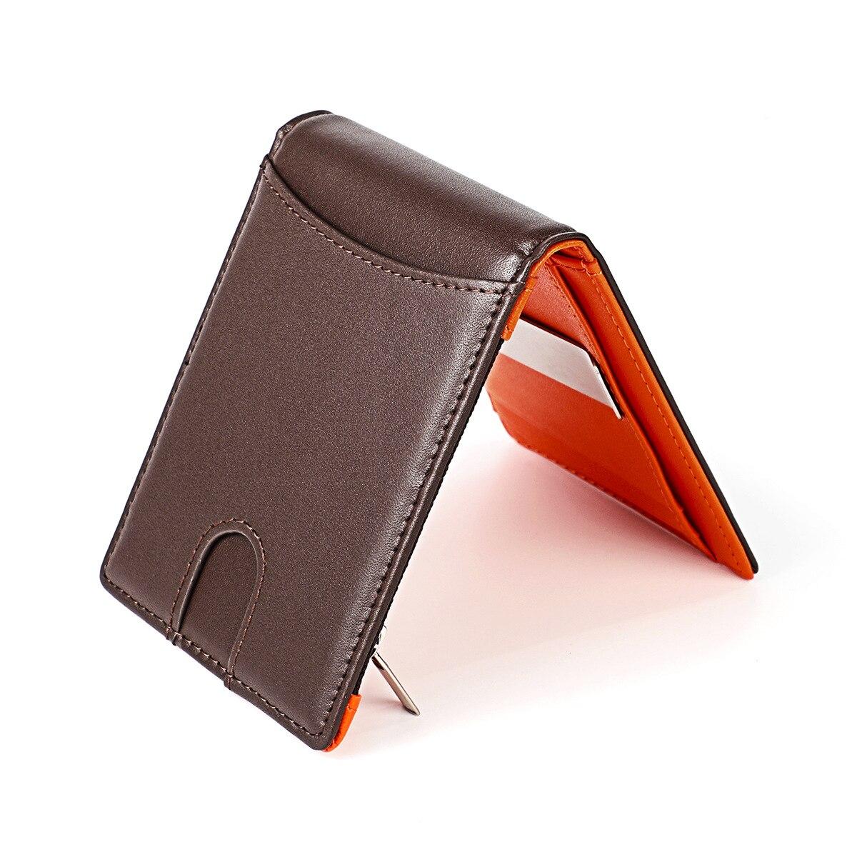 US dollar wallet men leather ultra-thin clip RFID  fashion purses