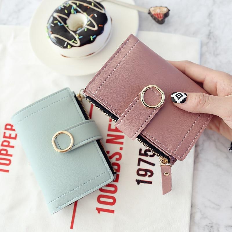Short Wallet Women 2020 Fashion Leather Ladies Solid Color Buckle Zipper Card Bag Clutch
