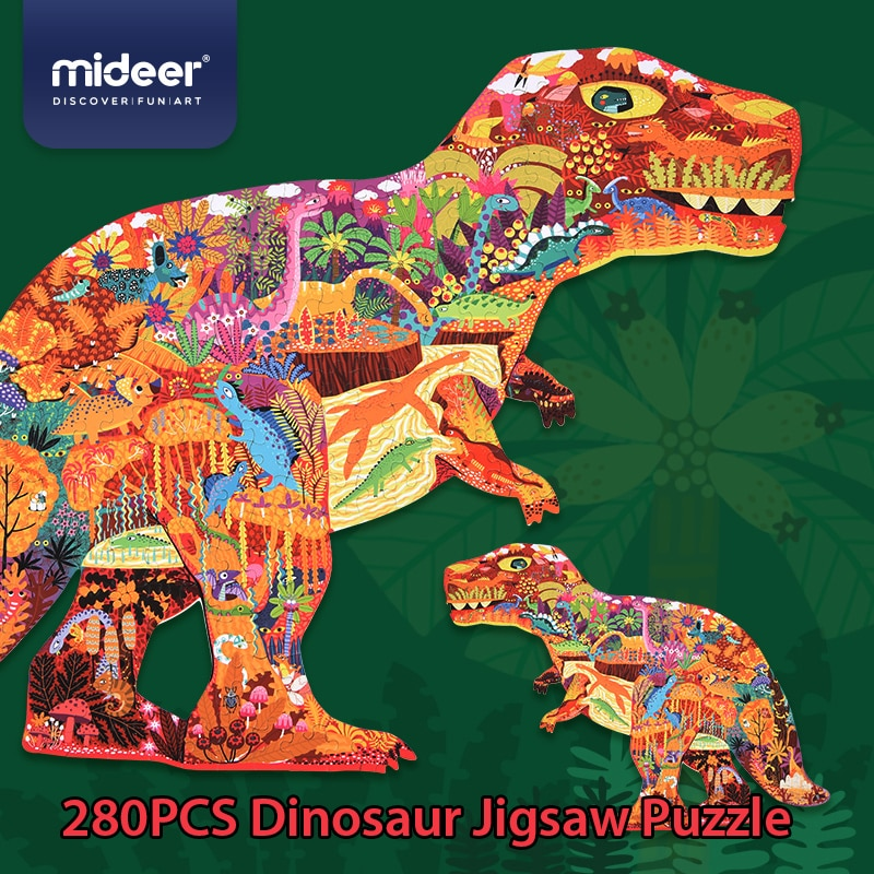 A beautiful puzzle in the shape of a dinosaur. 280 parts