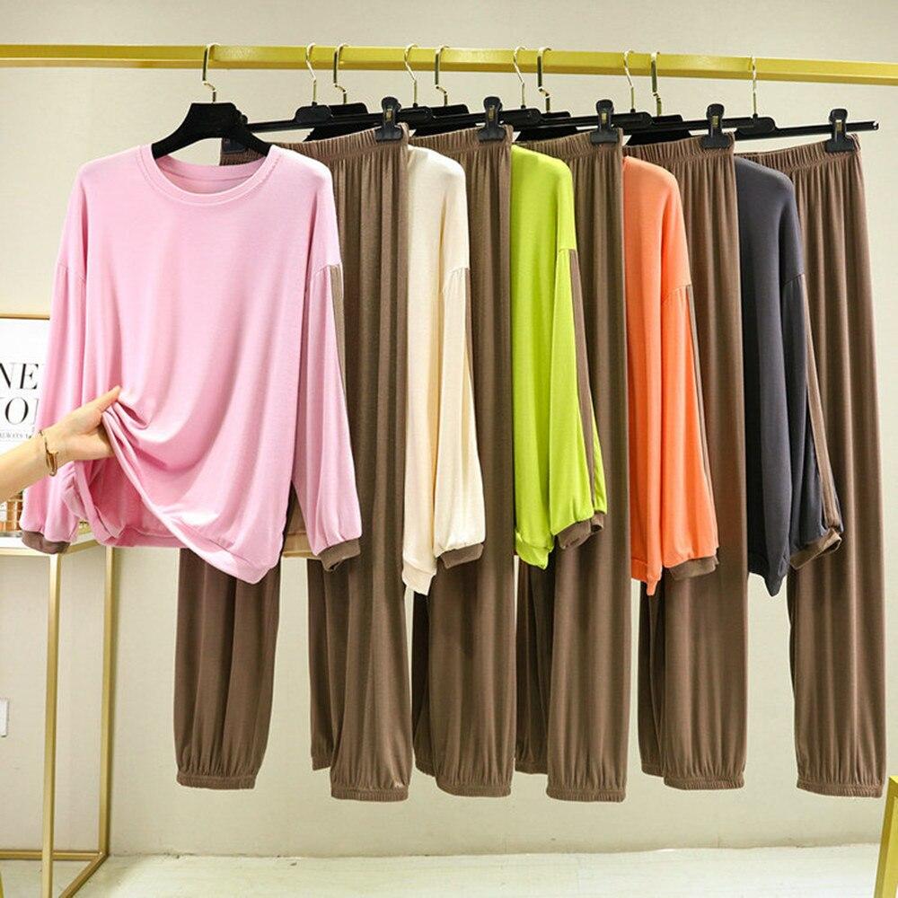 Женская одежда Fdfklak из модала, домашняя одежда, весенне-осенняя одежда для сна, комплект из 2 предметов, домашняя одежда для сна, свободная же...