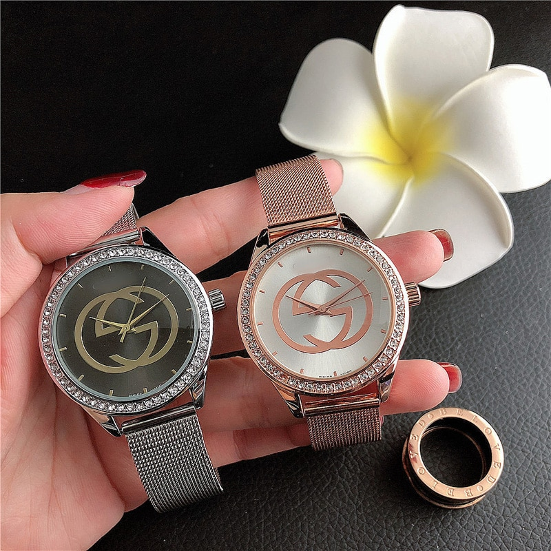 YUNAO Jewelry British Style Mesh Band Watch Female Fashion Watch Diamond Simple Letter Watch Daily Wild Net Red Same Watch enlarge