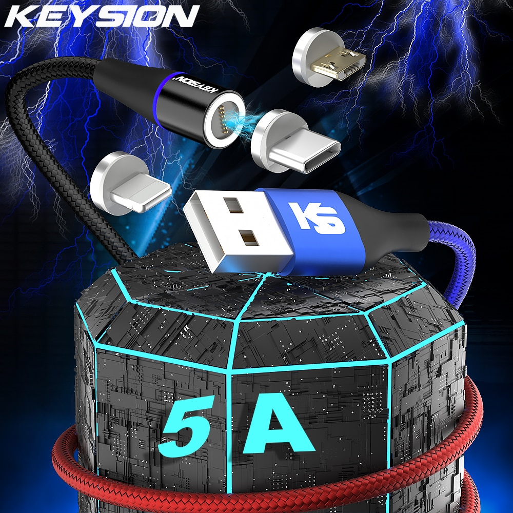 KEYSION Magnetic USB Fast Charging Type C Cable for Samsung A52 Xiaomi Redmi 5A Micro Data Charge Co