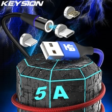 KEYSION Magnetic USB Fast Charging Type C Cable for Samsung A52 Xiaomi Redmi 5A Micro Data Charge Cord for iPhone12 Huawei Cable