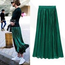 PEONFLY printemps été jupe plissée femmes Vintage taille haute jupe solide jupes longues nouvelle mode décontracté jupe métallique femme