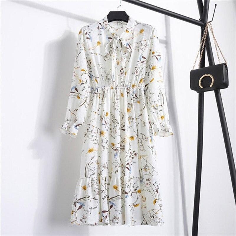 Mujeres Otoño Invierno vestido por debajo de la rodilla con estampado Floral elegante Oficina Chiffion Vestidos 2020 moda de manga larga Vestidos femeninos