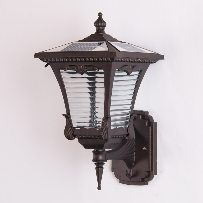 American Solar Outdoor Wall Lamp Industrial Lantern Waterproof Sensor Light Outdoor Terrace Garden Arandela Porch Lights Ed50dj