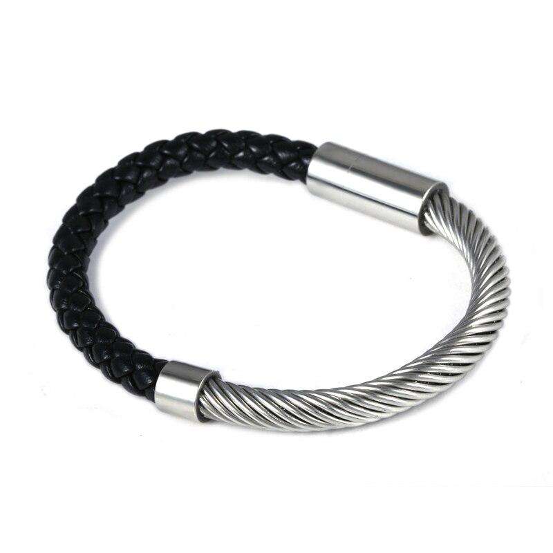 2016 venda quente nova moda italiana marca de luxo jóias 316l aço inoxidável pulseiras couro para mulher ou homem