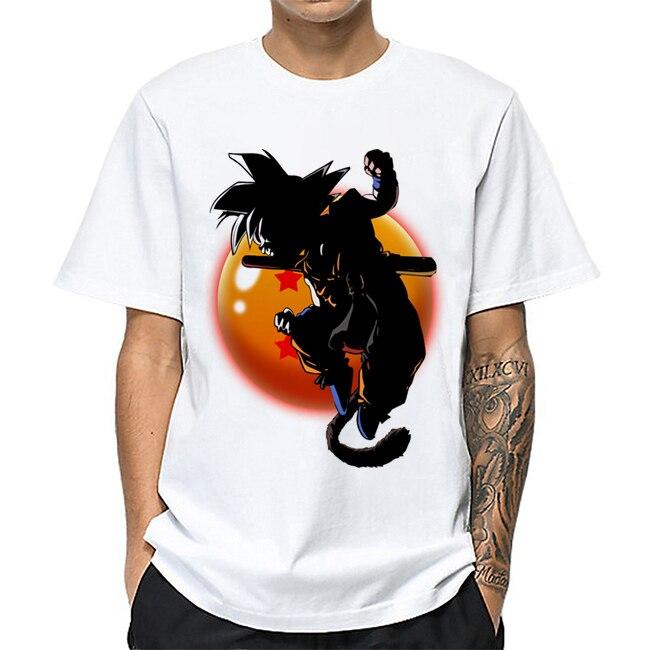 Una PUNCK-Man Saitama camisa de Anime hombres camiseta Conquer Goku Dragon camisa de pelota hombre Dragon Ball Vegeta Squat algodón camisetas