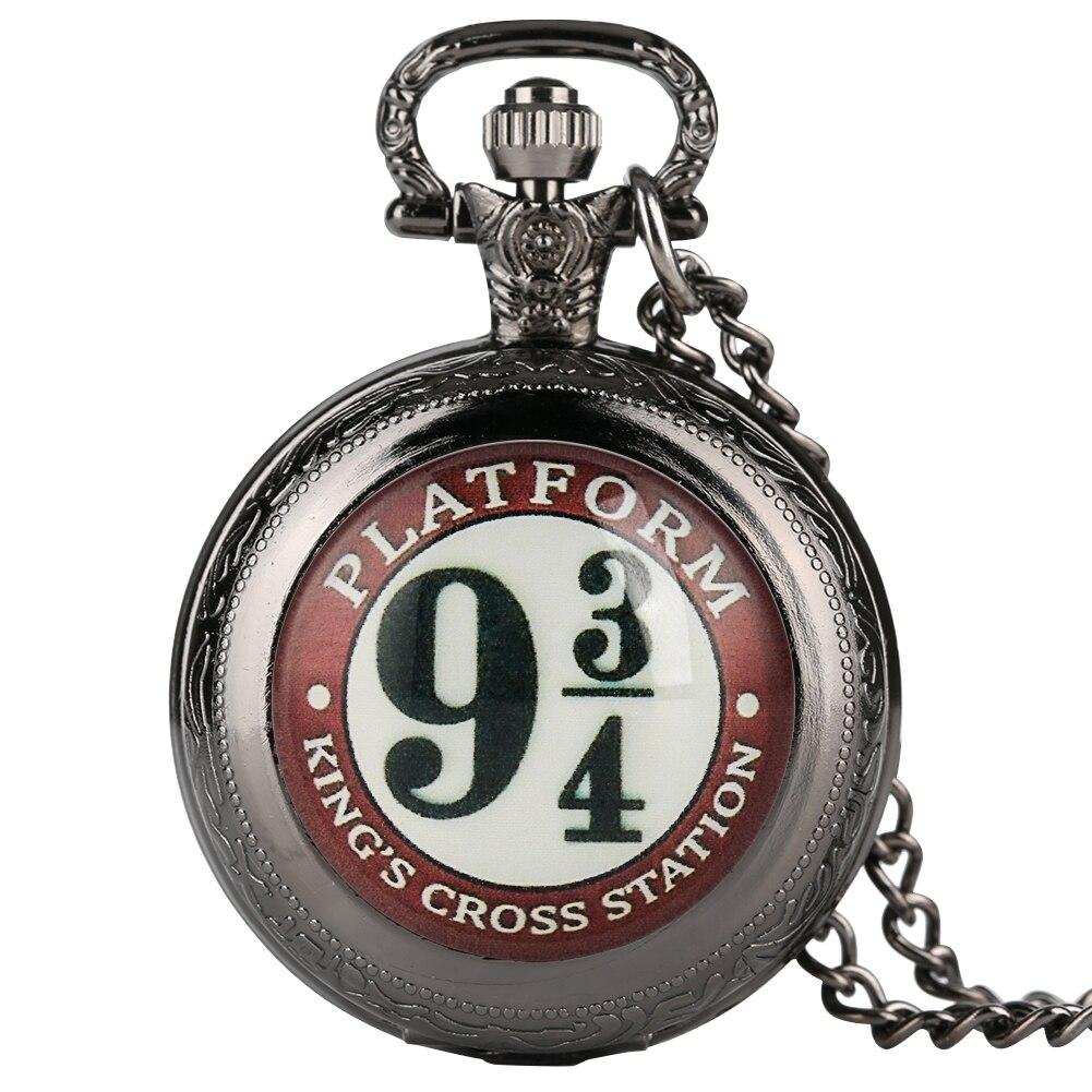 Гарри аксессуар 9 3/4 узор кварцевые карманные часы для мужчин тонкий кулон для женщин цепочка ожерелье zegarek kieszonkowy