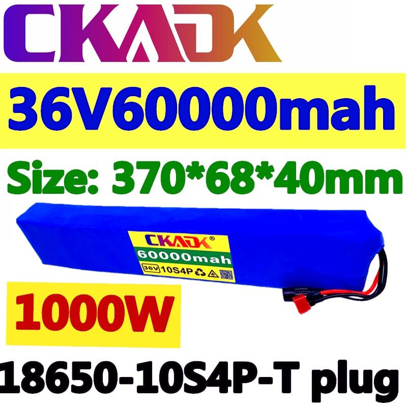 CKADK 2020 الأصلي 36 فولت بطارية 10S4P 60Ah بطارية 1000 واط عالية الطاقة بطارية 42 فولت 60000 مللي أمبير دراجة كهربائية BMS