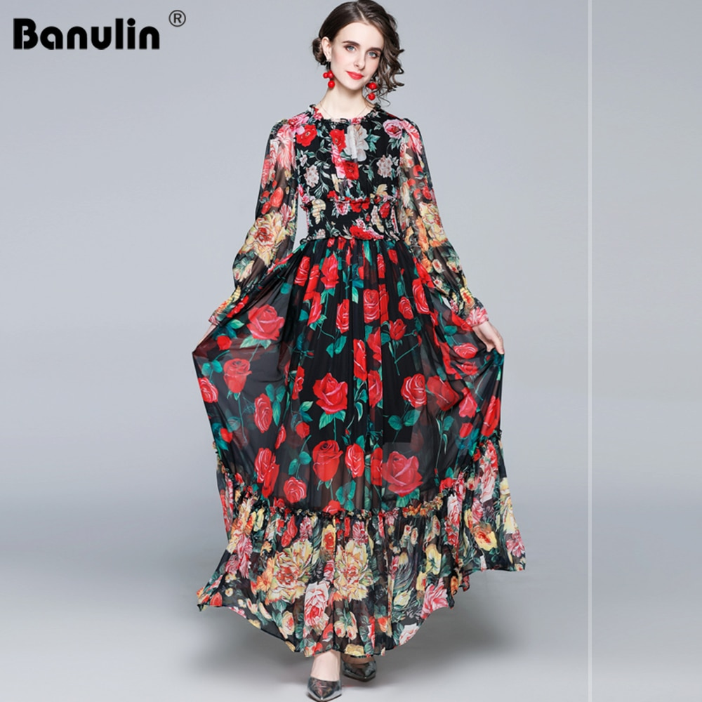 Banulin 2021 موضة المدرج الصيف كم طويل فستان ماكسي المرأة مرونة الخصر الأزهار طباعة أنيقة حفلة عيد فستان طويل