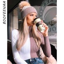 BOOFEENAA pull à col roulé manches longues femmes blanc rose Patchwork Slim pull tricoté automne hiver hauts Streetwear C81-AB85