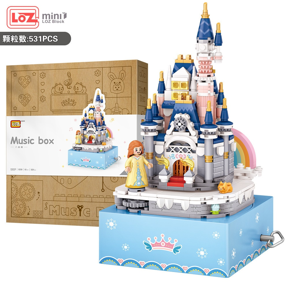 LOZ Blocks Beaustiful Castle Building Bricks with Music Box Toy Kids Gifts Toys for Children Girls P