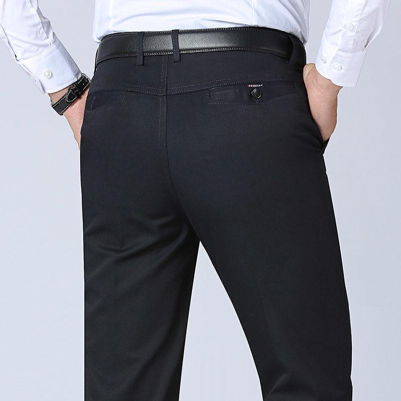 Брюки мужские прямые хлопковые с завышенной талией, свободные штаны в стиле смарт-кэжуал, брендовые мешковатые штаны цвета хаки, 42