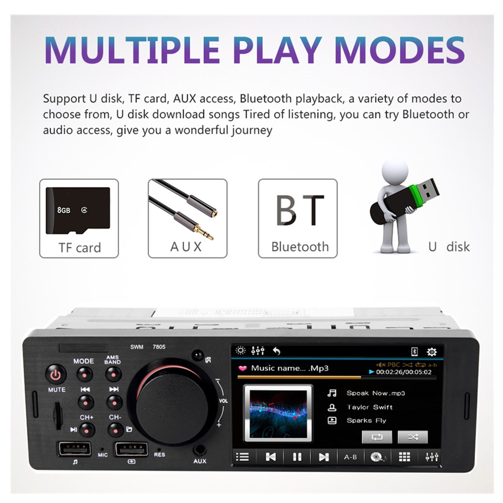 1din autoradio 12V Bluetooth coche Radio Audio Vedio MP3 reproductor de música 1 din coche multimedia estéreo teléfono AUX-IN táctil pantalla USB TF