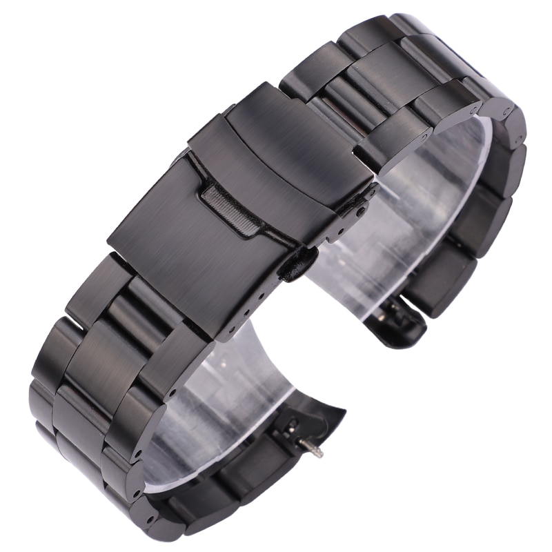 Stainless Steel Watchband Bracelet 20mm 22mm Men Metal Brushed Curved End Watch Band Strap Clocks Accessories stainless steel watchband bracelet 20mm 22mm men metal brushed curved end watch band strap clocks accessories