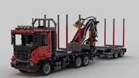 technology building blocks moc scania truck forest pneumatic logging machine cargo pallet assembly toy model boy birthday gift