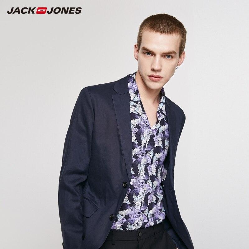جاكجونز بدلة ضيقة للرجال من الكتان بأزرار من الأمام لون نقي مع ياقة مدببة سترة | 219208508