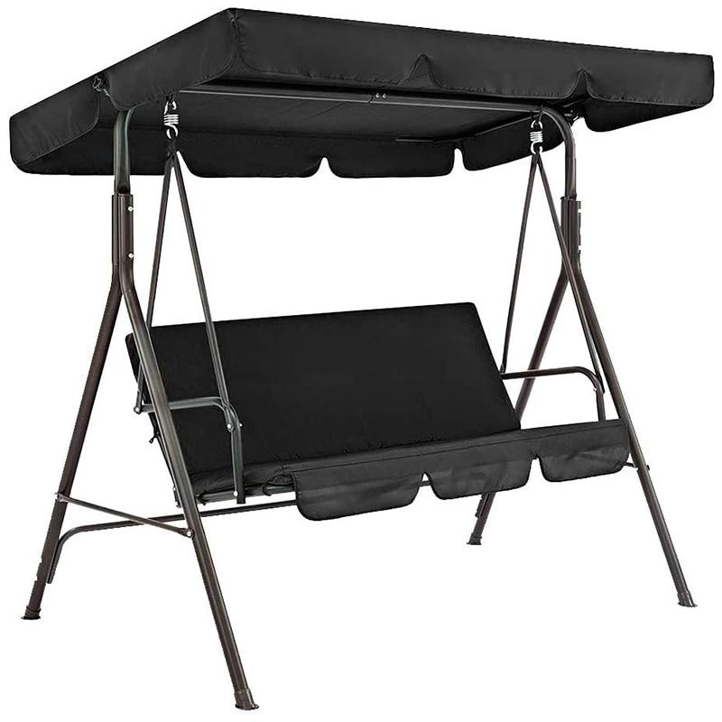 Terraza Swing cubierta de la silla 2 unids/set Universal Silla de jardín a prueba de polvo 3-Seater al aire libre cubierta (negro)