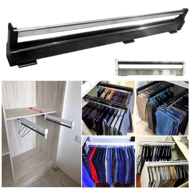 سكة ملابس منزلية من الفولاذ المقاوم للصدأ ، سهلة التركيب ، موفرة للمساحة ، قضيب خزانة ، علاقة تخزين متينة قابلة للسحب ، WF92