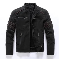 2021 autumn winter mens leather jacket casual fashion stand collar motorcycle jacket men slim high quality pu leather coats