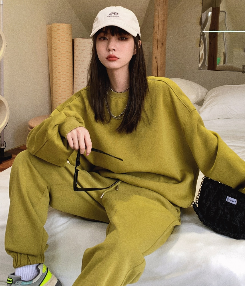 Ladies Loose Hoodies Tracksuits 2 Piece Set Autumn Winter Sweatshirt + Sporting Pant Outfit Wide-leg