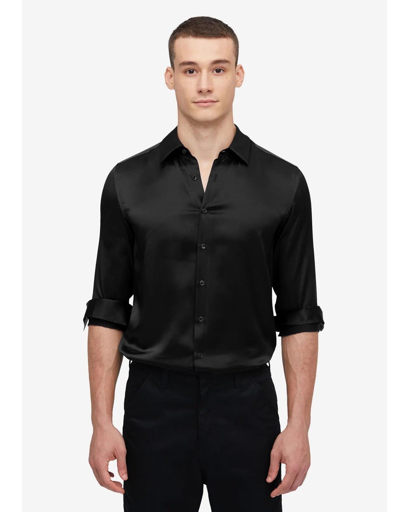 19MM Mulberry Silk Basic Mens Shirt