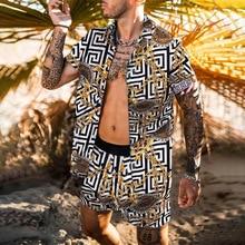 הוואי סט Mens הדפסת סט קצר שרוול קיץ מזדמן פרחוני חולצה חוף שתי חתיכה חליפת 2021 חדש אופנה גברים סטים m-3XL