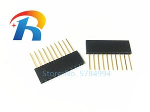 Free shipping 50pcs Black 2.54 mm 10P Stackable Long Legs Female Header L11MM  For Arduino Shield needle length 11MM