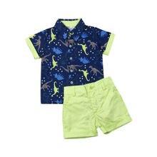 Bambino appena nato Boy Gentleman Suit Dinosauro T-Shirt Top Pantaloni Shorts Abiti Set 0-5 Anni