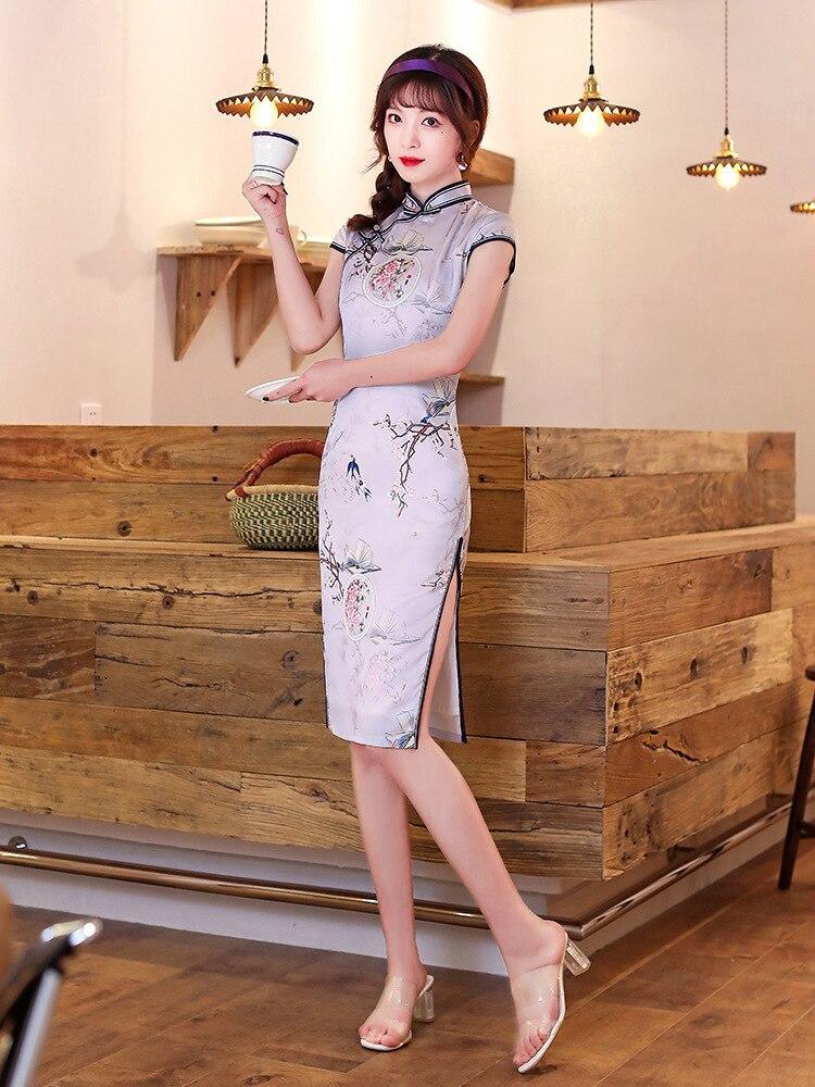 Vestido Qipao Vintage chino con cuello mandarín para mujer, Cheongsam Floral, Sexy, abertura alta, talla grande M, L, XL, XXL, XXXL