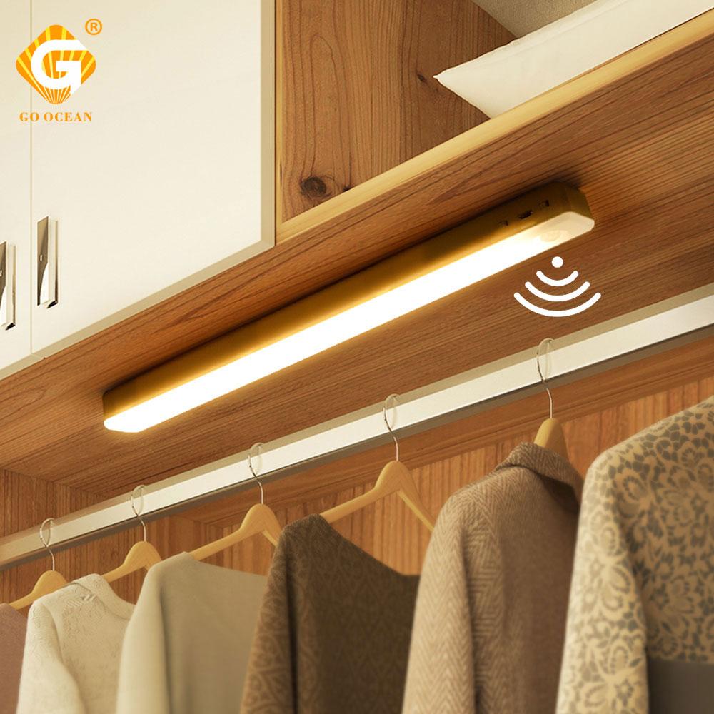 Human body induction LED Under Cabinet Light 16 Leds Battery Operated USB Rechargeable Closet Night Lamp Closet Corridor Bar Lig