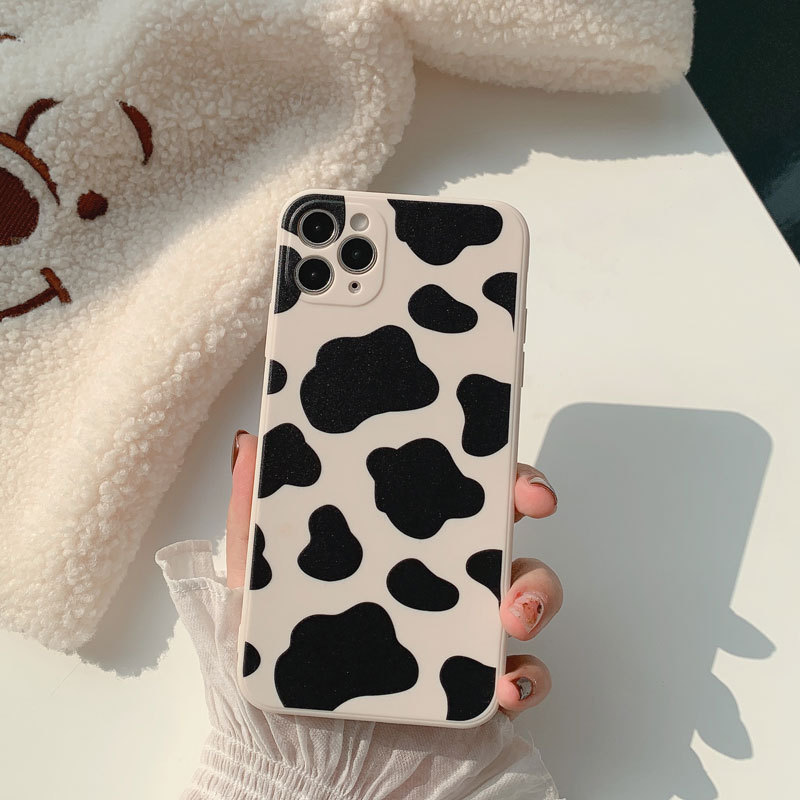 phone case Cow pattern suitable for iPhone mobile phone case Apple 12/11Pro Max soft 7/8plus all-inclusive matte X/XR