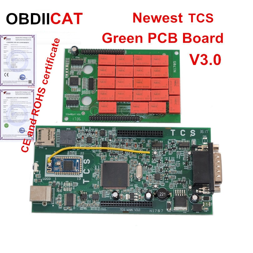NOVEDAD DE 2017,1, escáner automático Bluetooth V3.0 PCB 2016,1 + keygen OBDIICAT TCS 5V relé NEC 9241A Chip obd2, herramienta de diagnóstico de camiones
