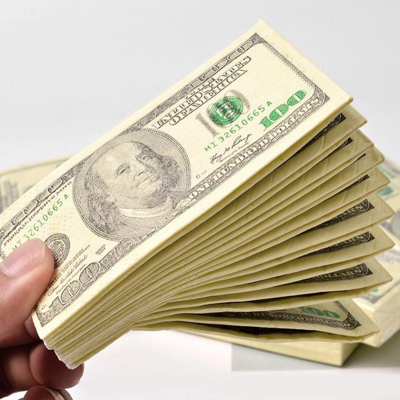 10 листов/упаковка, смешная бумажная салфетка с узором в виде доллара, одноразовые полотенца из чистого дерева, переносные салфетки для дене...
