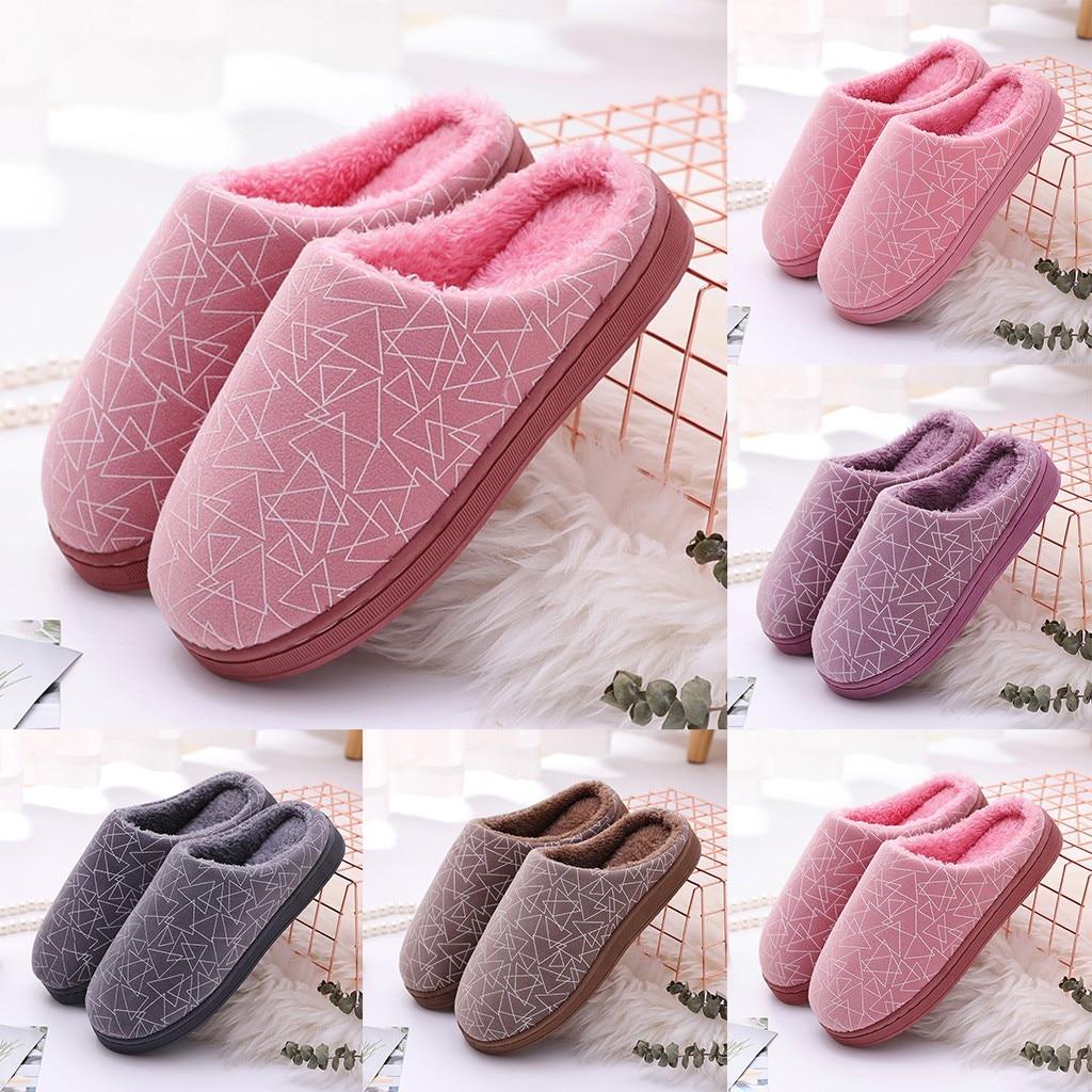 Gran oferta 2019 de Zapatillas para hombre y mujer, Zapatillas de casa antideslizantes abrigadas con flocado geométrico para parejas, zapatos de Interior chino masculino