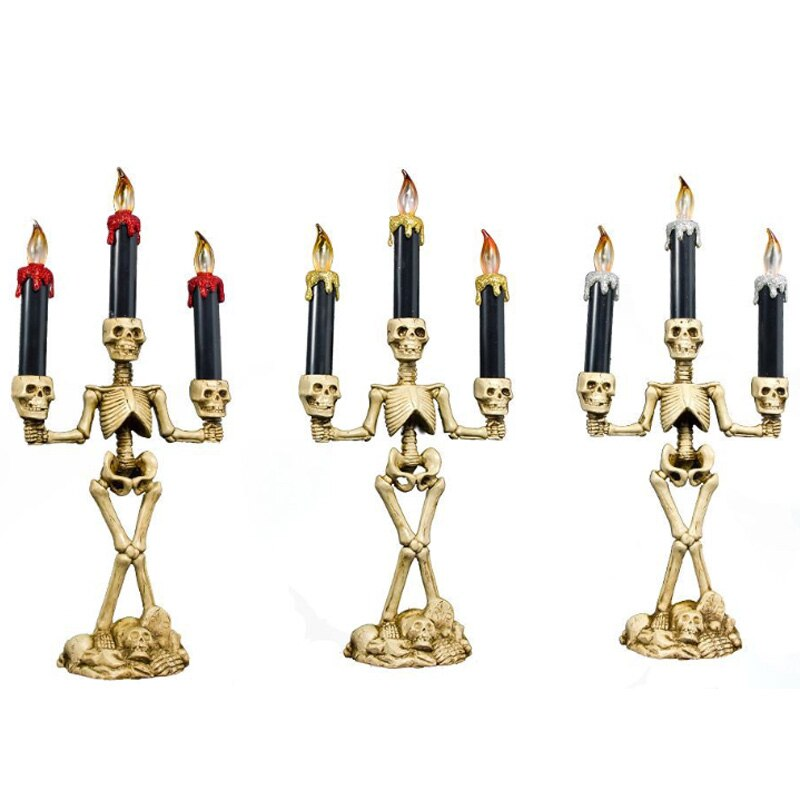 Candelabro LED de 3 brazos con forma de vela de esqueleto para fiesta de Halloween y Halloween, lámpara LED con forma de calavera para fiestas, lámpara KTV para decoración del hogar