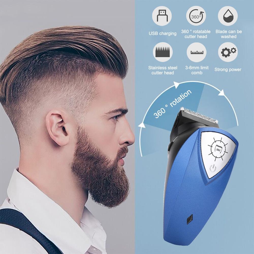 Maquinilla eléctrica para cortar el pelo a prueba de agua, herramienta Flexible suave, Cable de carga de 360 °, azul ABS, bajo ruido, fuerte potencia, cortapelos silencioso