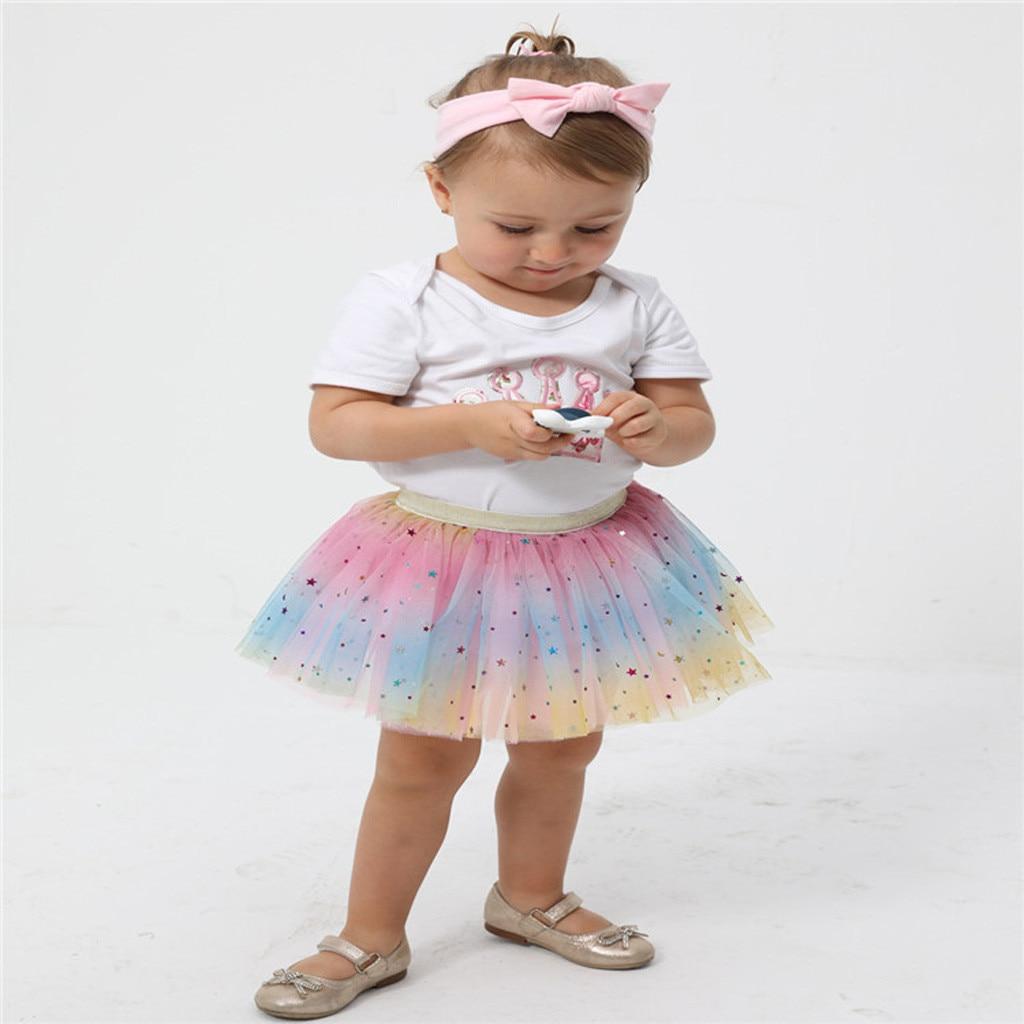 Falda tutú para niña, faldas de verano de lentejuelas princesa Pettiskirt fiesta enagua de danza Arco Iris faldas de tul Niñas Ropa 2020