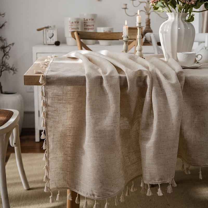 Cotton and Linen Tablecloth Retro Table Cover for Table nappe de table Tassel Rectangle Cloth Obrus Tafelkleed mantel de mesa