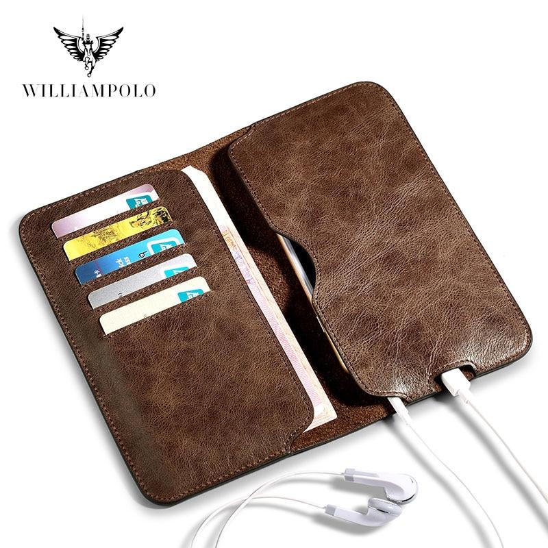 WILLIAMPOLO-محفظة لهاتف iPhone 11 Pro ، جلد طبيعي ، مع 5 حوامل بطاقات مع فتحة شحن ، محفظة ، PL181
