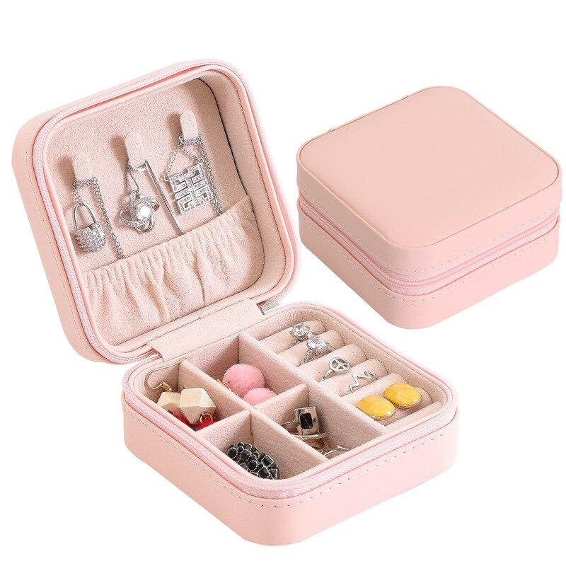 Caja de joyería, organizador portátil de almacenamiento, soporte para pendientes, cremallera, Estuche De Viaje de joyería para mujer, 100x100x50mm