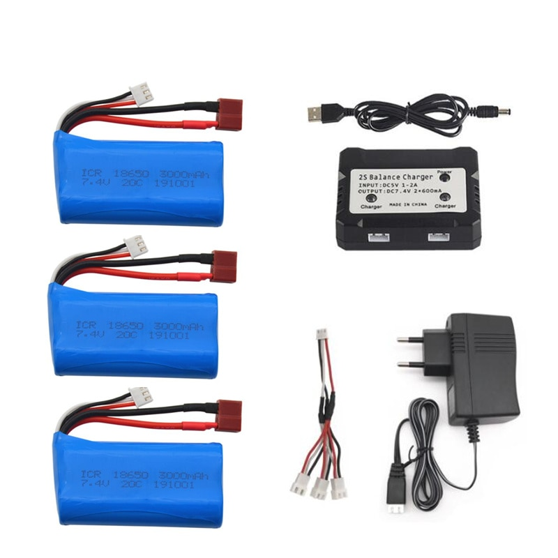 7.4V 3000mAh 2S Lipo Battery For Wltoys 144001 A959-B A969-B A979-B K929-B 12428 12423 10428 Q39 bat