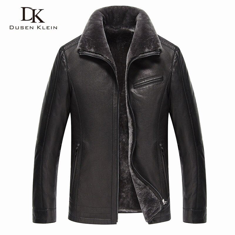 Jaquetas de couro genuíno dos homens marca 2019 novo forro de lã de inverno quente casacos de luxo masculino couro de vaca outerwear