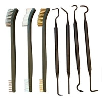 hot double headed 3 wire brushes and 4 nylon picks car accessories multipurpose pick and brush set car detailing cleaning tool