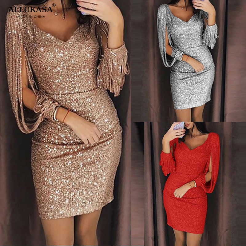 AliExpress - 2020 tops Dress New Women Plus Size  5 Color Sexy V-Neck Solid Sequined Stitching Shining Sheath  Long Sleeved Party Dress