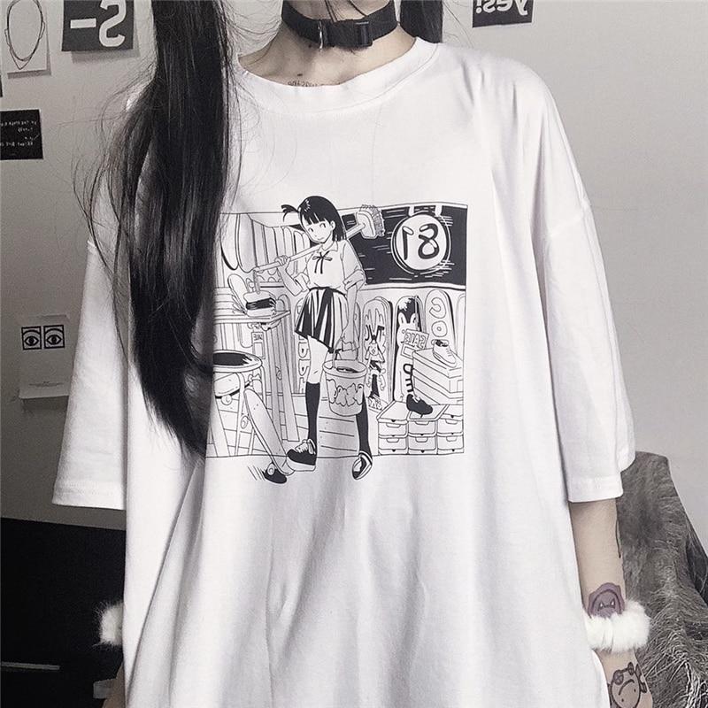 Camiseta blanca Kawaii de manga corta de verano, camiseta gráfica japonesa de Anime Harajuku para mujeres, camiseta para mujeres, camisetas coreanas Ulzzang